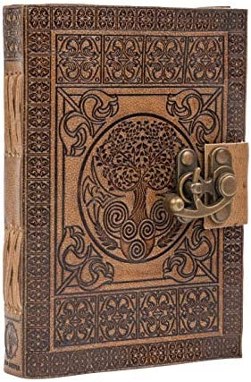 Leather Journal Handmade through DreamKeeper - Celtic Embossed Travel Notebook - Original Antique Tree of Life Design - Plain Khadda Paper Made with Recycled Cotton - Beautifully Crafted Book to Gift
