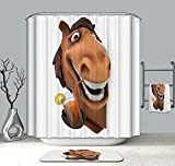 KANATSIU Juice-Drinking Horses Shower Curtain 12 Plactic Hooks,100% Made Polyester,Mildew Resistant & Machine Washable,Width x Height is 60x72