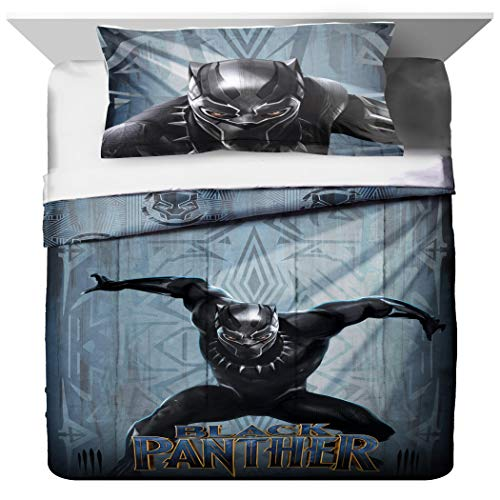 TN 2 Piece Kids Grey Blue Black Panther Comforter Twin/Full Set, Childrens Marvel Bedding Cat Superhero Themed Action Movie Character Yellow, ()