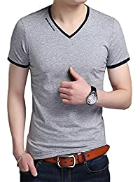 Men's V-Neck Casual Slim Fit Long/Short Sleeve Fashion Printed T-Shirts Cotton Shirts