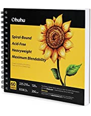 Alcohol Marker Paper, Ohuhu 8.9×8.3 inch Portable Square Marker Sketchbook, 120 LB/200 GSM Heavy Smooth Drawing Marker Pad, 60 Sheets/120 Pages, Spiral Bound Sketch Book, Designed for Alcohol Markers Back to School Gift Idea