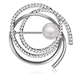 TAGOO Multi Circles Vintage Brooch Fashion Safety Pin Clip in Crystal Pearl for Women&Girls, Wedding/Banquet/Bouquet (Multi-Circles Silver)