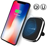 iPhone 8 Plus Car Wireless Charger, Nillkin Qi Wireless Charger Car Air Vent Mount + Magnetic TPU Case for iPhone 8 Plus - 2-in-1 Package