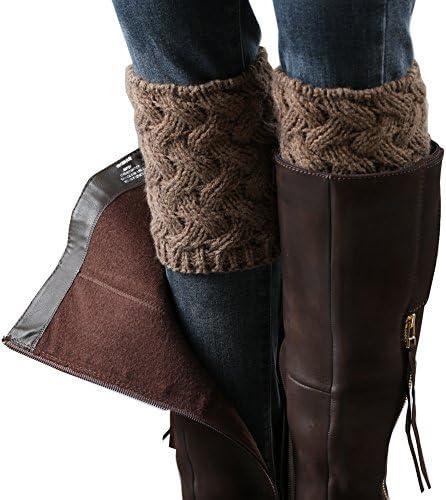 4bceee5ff0f FAYBOX Short Women Crochet Boot Cuffs Winter Cable Knit Leg Warmers