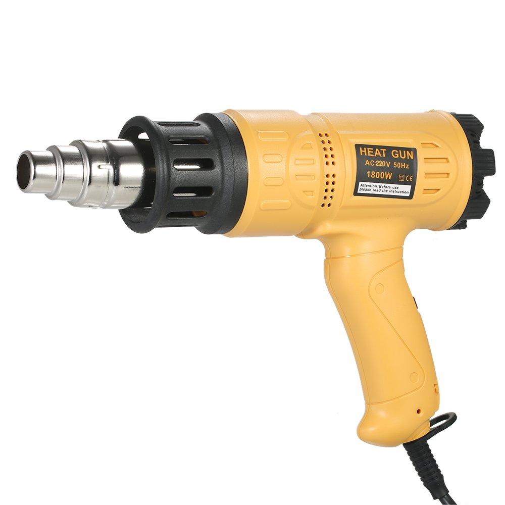 KKmoon 1800 W Calentamiento Rá pido Industrial Pistola de Aire Caliente Velocidad de Temperatura Ajustable Herramienta de Ventilador de encogimiento de Calor caliente con 4 Boquillas AC220V Enchufe