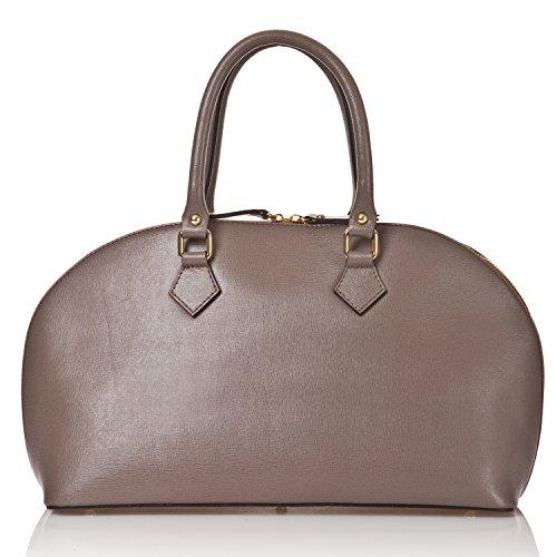 azzesso - Italienische Leder Henkeltasche Cannes in stein grau, Echtleder, die Tasche vom italienischem Mode Profi, Handtasche 43x26 cm