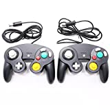2 Pack Controller for Gamecube Wii Wired NGC Gamepad(Black)