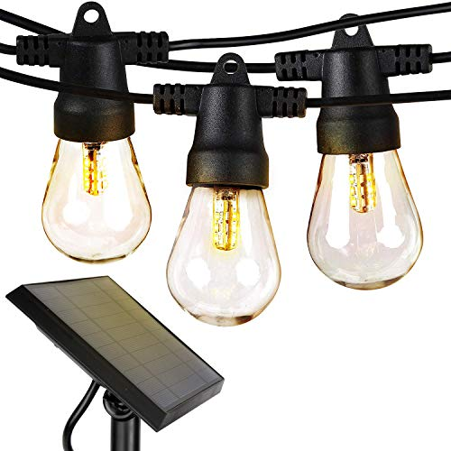 Brightech Ambience Pro - Waterproof LED Outdoor Solar String Lights - 1W Vintage Edison Bulbs - 27 Ft Heavy Duty Patio Lights Create Cafe Ambience On Your Porch - Soft White