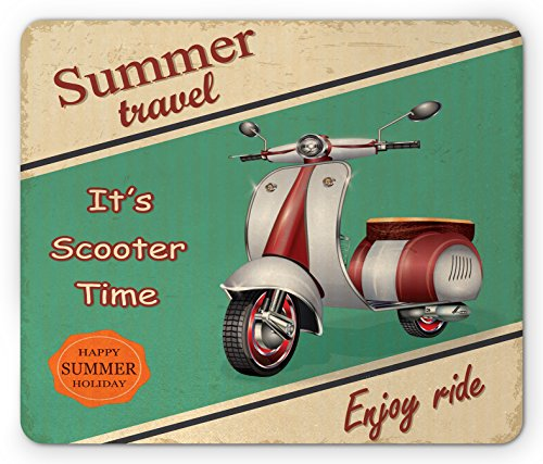 Ambesonne Vintage Mouse Pad, Scooter Motorbike Summer Travel Italian City Sight Hipster Enjoy Ride Illustration, Standard Size Rectangle Non-Slip Rubber Mousepad, Multicolor