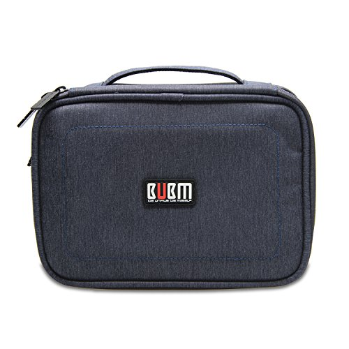 BUBM Electronic Organizer, Double Layer Travel Gadget Carry Bag for Cables, Plugs, Earphone, Flash Hard Drive and More--a Sleeve Pouch for iPad Mini(Medium, Dark Blue)