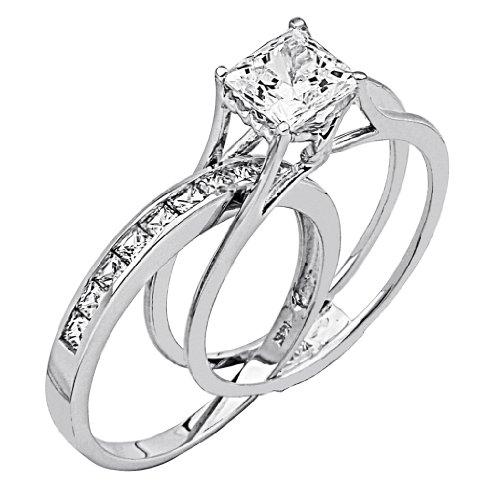 14k White Gold SOLID Princess Square Engagement Ring & Wedding Band Set - Size 9