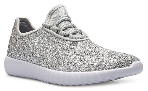 - OLIVIA K Womens Easy On Casual Fashion Sparkly Glitter Sneakers - Comfort, Lightweight