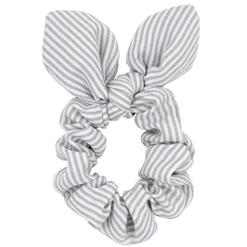 Set of 2 Bunny Ear Bow Bowknot Ponytail Holder Hair Tie Band Hair Scrunchies (Gray Striped)