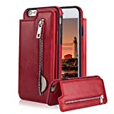For iPhone 6 6S Pocket Case, Aearl TPU Bumper Shell Back Magnetic Button Closure Vintage PU Leather Cover Zipper Wallet Purse Card Holder and Photo Frame Slot Kickstand Case for iPhone 6S 6 - Red