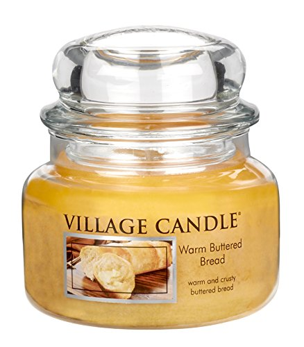 Village Candle Warm Buttered Bread 11 oz Glass Jar Scented Candle, Small