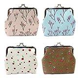 Small Coin Purse Wallet 4pc Cute Floral Exquisite Buckle Little Change Pouch Canvas Mini Cash Key Bag (Floral, One Size)