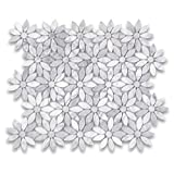 Carrara White Italian Carrera Marble Daisy Flower Pattern Mosaic Tile Polished