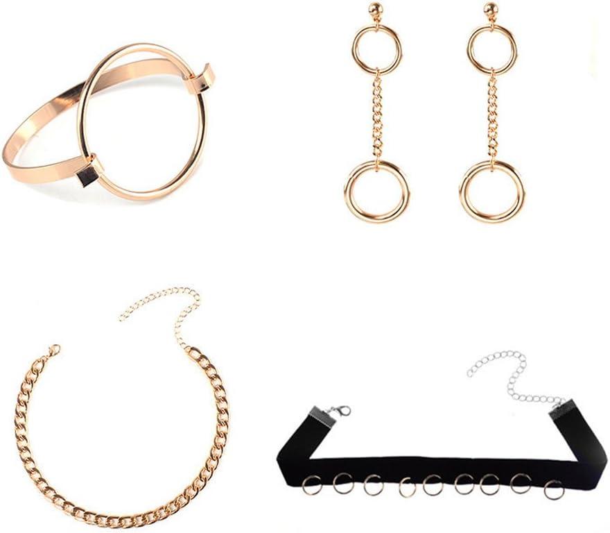 FushoP Multicapa Choker Collares con Colgante Pendientes Conjunto de Joyería Pulsera (Chapado en Oro)