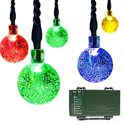 Lalapao Globe Battery Operated Timer String Lights 30 LED Bubble Crystal Ball Fairy Christmas Decor For Outdoor Indoor Garden Patio Decorations (Multi Color)