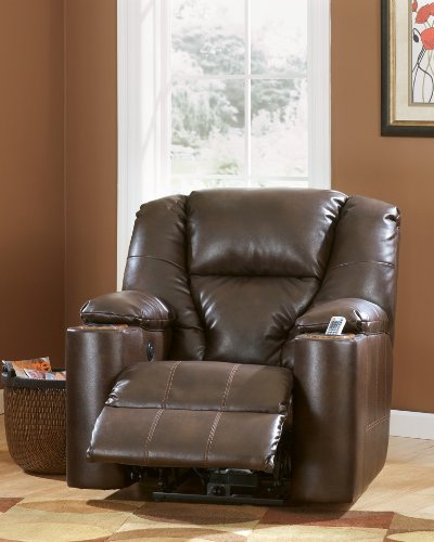 Signature Design by Ashley 7640106 Paramount DuraBlend Collection Power Recliner, - Brown Home Collection Theater Leather