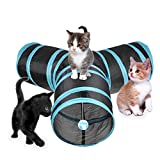3 Way Cat Tunnel, Creaker Collapsible Pet Toy Tunnel with Ball for Cat, Puppy, Kitty, Kitten, Rabbit (T-shaped)