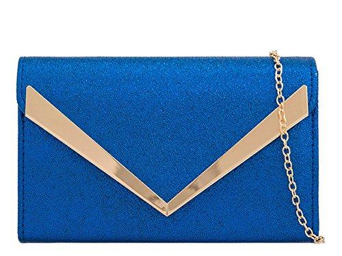 Bag Chain Strap Faux Arrow Blue Handbag Royal Women's Trim Leather Evening Clutch 4TxHqxZOnw