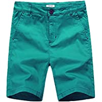 KID1234 Boys Shorts - Flat Front Shorts with Adjustable Waist,Chino Shorts for Boys 5-14 Years,6 Colors to Choose