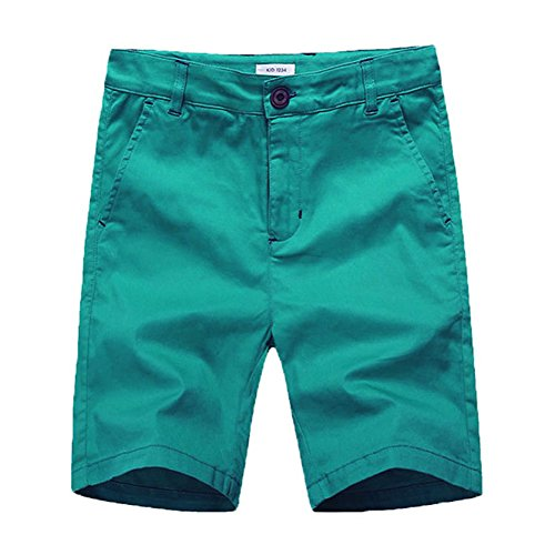 Boys Flat Front Shorts - KID1234 Boys Shorts - Flat Front Shorts with Adjustable Waist,Chino Shorts for Boys 5-14 Years,6 Colors to Choose Green