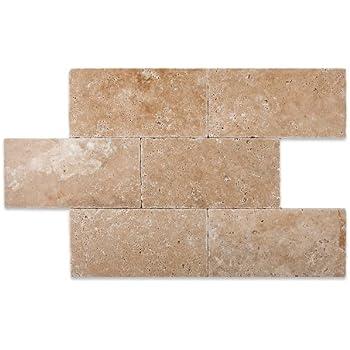 Walnut Travertine 6 X 12 Tumbled Subway Brick Field Tile 1 Pcs