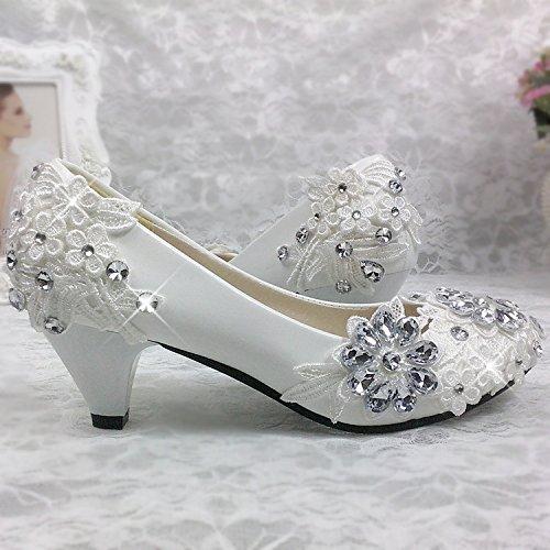 JINGXINSTORE Fiore di pizzo sposa sposa damigella scarpe singolo cristallo bianco Strass scarpe matrimonio, 5cm, UK6