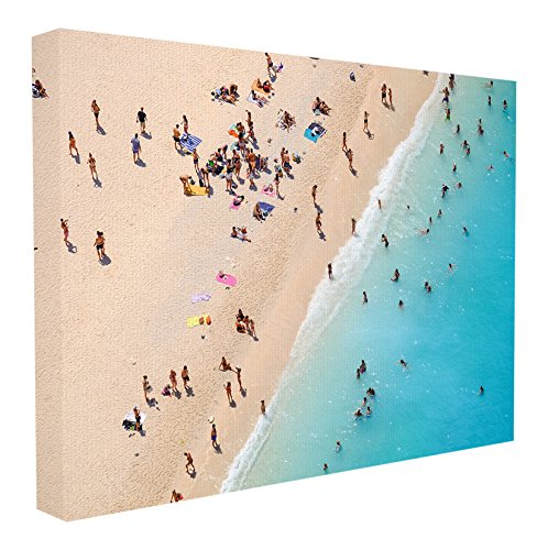 Stupell Home Décor Aerial Beach View Sunbathers Stretched Canvas Wall Art, 16 x 1.5 x 20, Proudly Made in USA (View Wall Coastal Art)