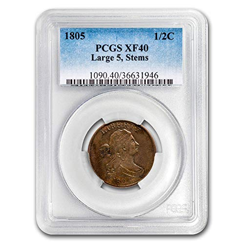 1805 Draped Bust Half Cent XF-40 PCGS (Large 5, w/Stems) Cent XF-40 PCGS