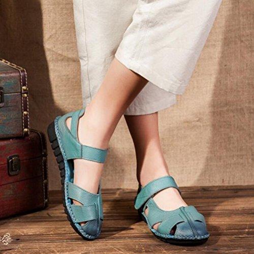 Mordenmiss Mujer's New Peep Toe Velcro Sandalias Planas Multicolor Azul