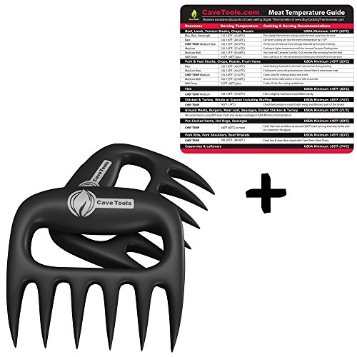 Meat Temperature Guide + Pulled Pork Shredder Claws - BEST BBQ FORKS - Shredding Handling & Carving Any Size Food - Claw Handler Set for Pulling Brisket from the Grill Smoker or Slow Cooker