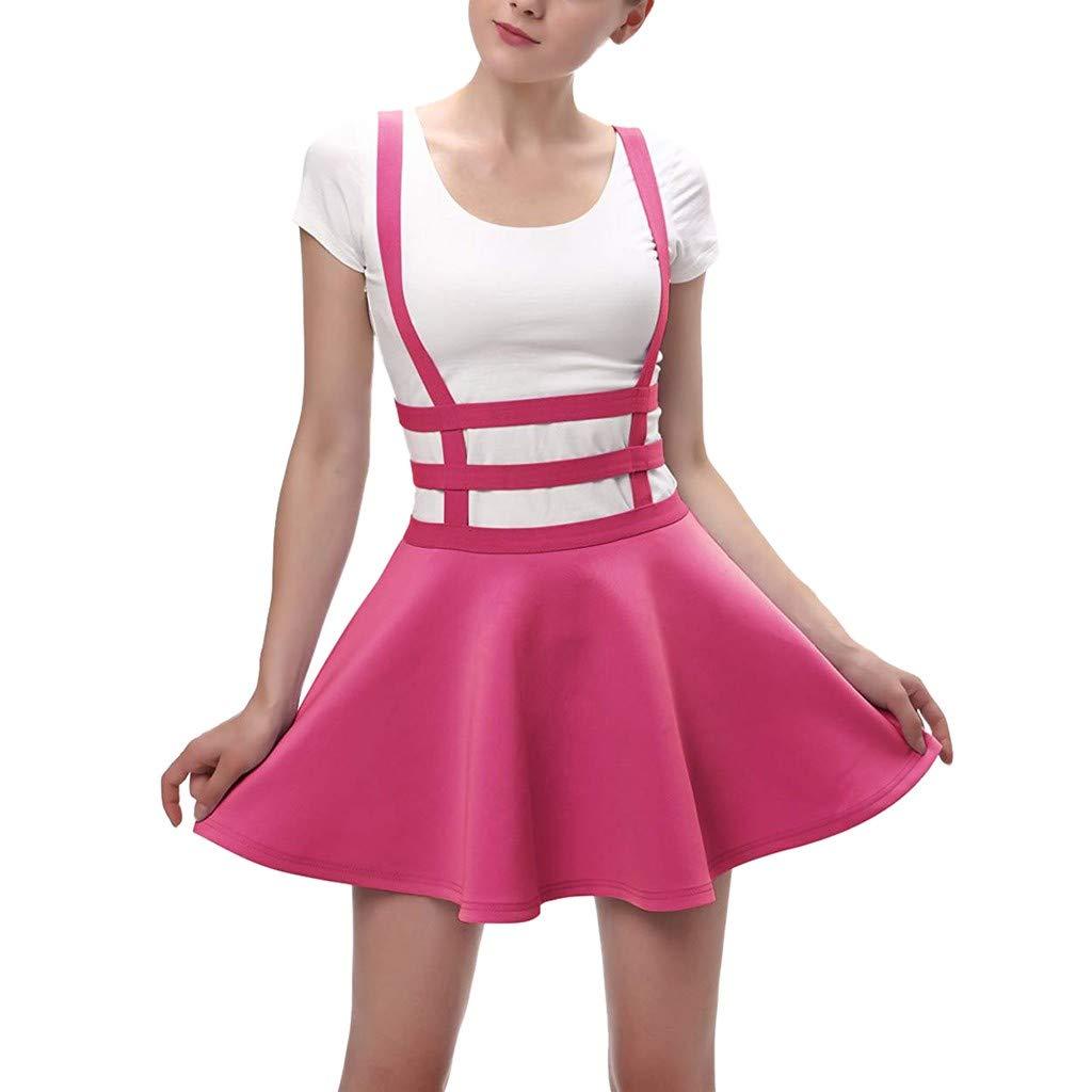 Womens Elastic Waist Pleated Short Braces Skirt Mini Skater Skirts Casual Basic Versatile Stretchy Flared (M, Hot Pink)