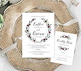Greenery with Flowers Wedding Invitation, Maroon Flowers Invitation, Wine Invitation, Marsala Flowers Invitation