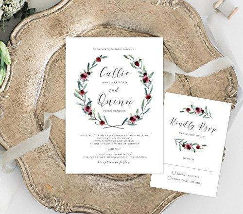 Greenery with Flowers Wedding Invitation, Maroon Flowers Invitation, Wine Invitation, Marsala Flowers Invitation by Alexa Nelson Prints