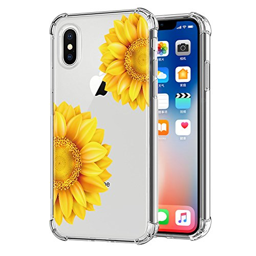 Sunflower Protective Case (iPhone X Flower Case, Clear Floral Design OJSCOV Soft TPU Rubber Bumper Protective Back Cover for iPhone X (Sunflower))