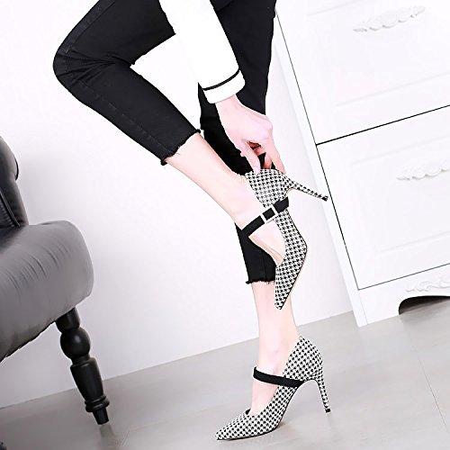 SSBY Un 9Cm Tacones Altos Con Una Multa Superficial Boca Moda Sexy Maxmara Una Hebilla Todos Coinciden Con Zapatos Treinta Y Seis Pata