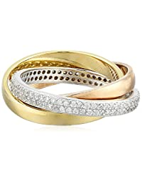 Rose and Yellow Gold-Plated Sterling Silver and Cubic Zirconia Three-Piece Ring