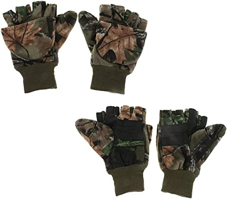 1 Pair Flannelette Winter Fishing Gloves for Hunting Photography// Shooting