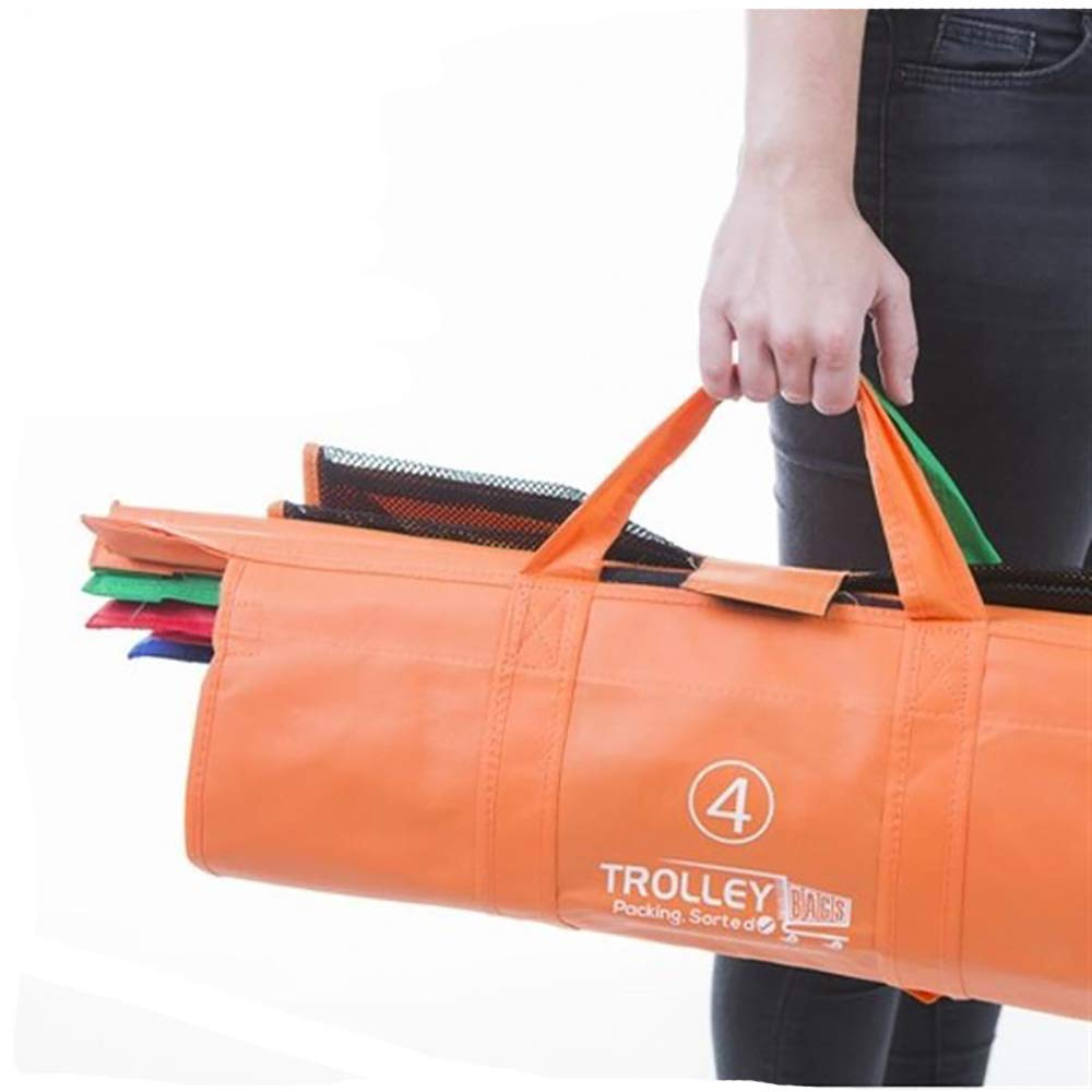 para la compra 4 unidades plegables Bolsas reutilizables para el carrito de la compra y organizador de comestibles Mesh reutilizables
