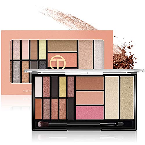 Fairyland Eye Shadow Palette 15 Pigmented Makeup Pallet,10 Mattes/Shimmer Eyeshadow + 3 Blush + 2 Hight-Light Powder + 1 Brush,Waterproof Blendable Long Lasting Eyeshadow Palette(MUP 01)