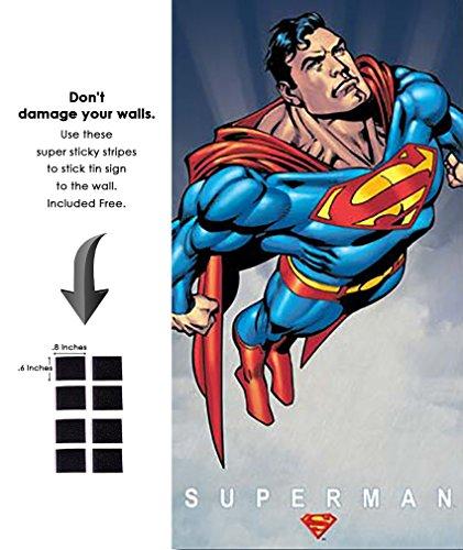 Shop72 Tin Sign DC Comic Series Superman Super Hero Metal Tin Sign Retro Vintage - With Sticky Stripes . No Damage to Walls