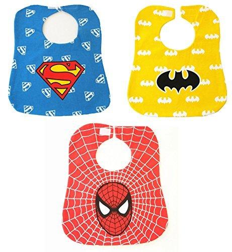 Baby Bibs Kids Saliva Towel Waterproof Lunch Bibs Boys Girls Infants Super Hero Pattern Bibs Baby Bibs Burp Cloths,3 Pack (Baby Super Hero)