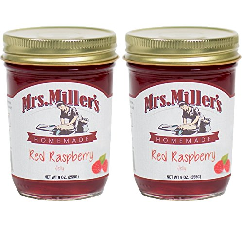Mrs. Miller's Amish Homemade Red Raspberry Jelly 9 Ounces - Pack of 2 by Mrs. Miller's