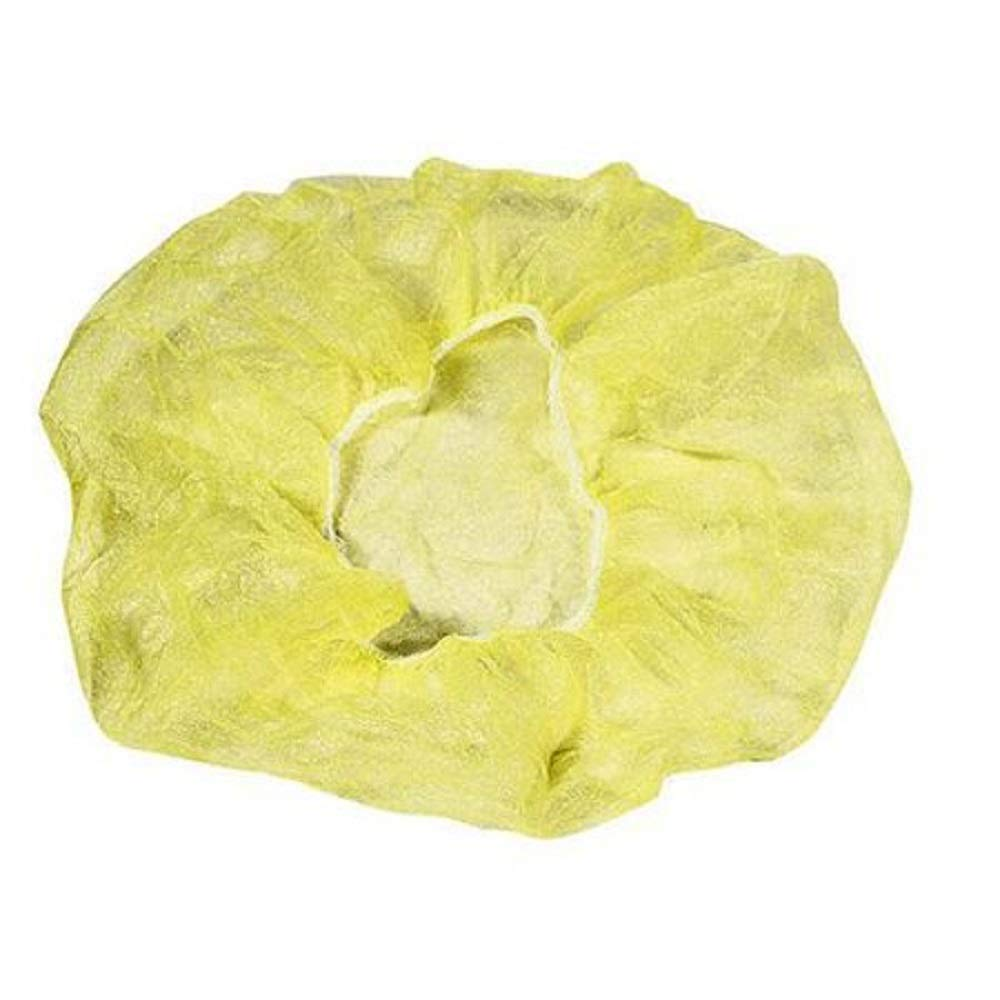 1000 Pack Yellow Bouffant Caps 24''. Non Woven Hair Caps with elastic stretch band. Disposable Polypropylene Hats. Unisex Protective Hair Covers for food service, medical use. Breathable, Lightweight.
