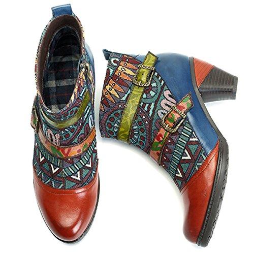 Botines Zapatos Botines Cuero Cuero para Ocasionales Mujeres De C Invierno De Botas Socofy De Oxford tqCOndSwtx