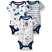 Lamaze Baby Boys Organic 3 Pack Shortsleeve Bodysuits, White, 9M