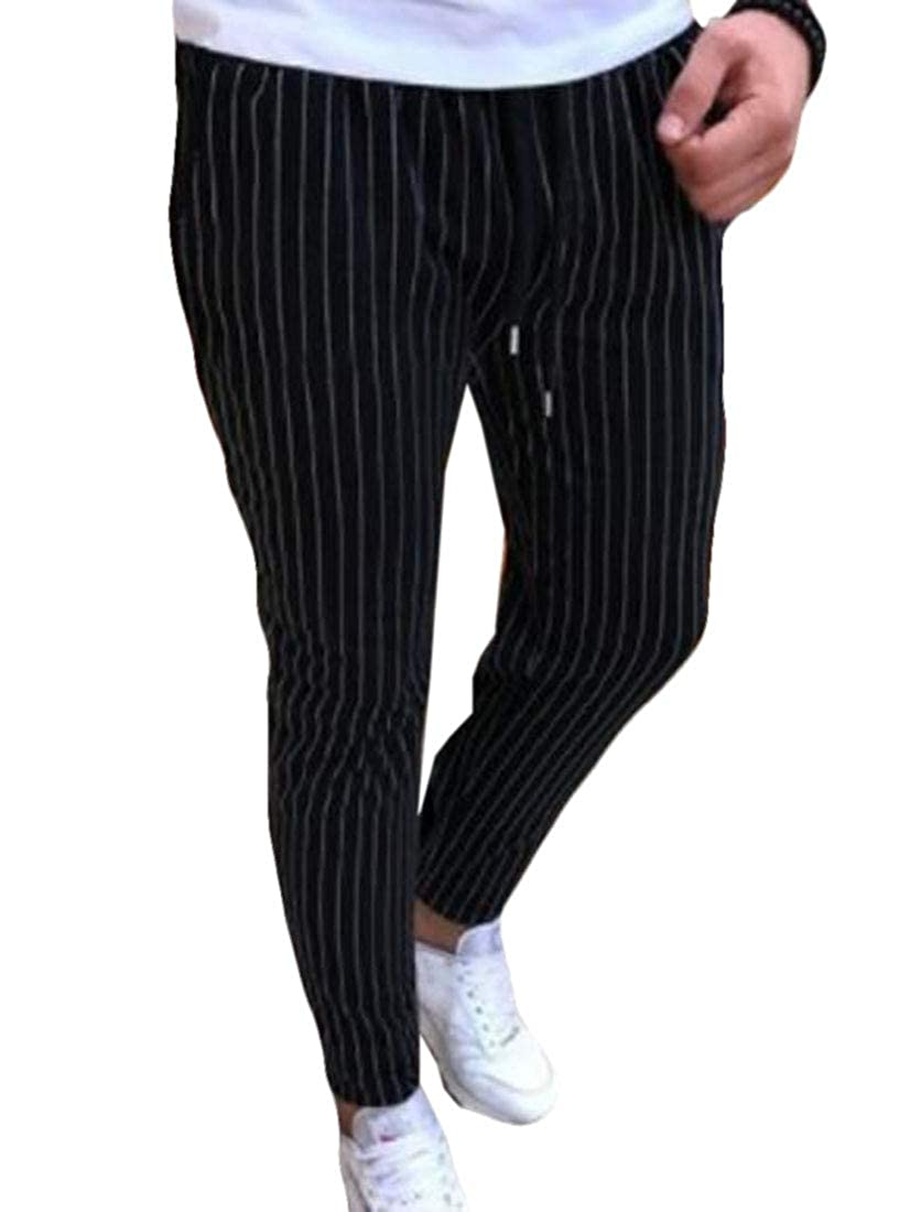 JXG Men Fashion Fitness Casual Striped Pencil Drawstring Classic Pants